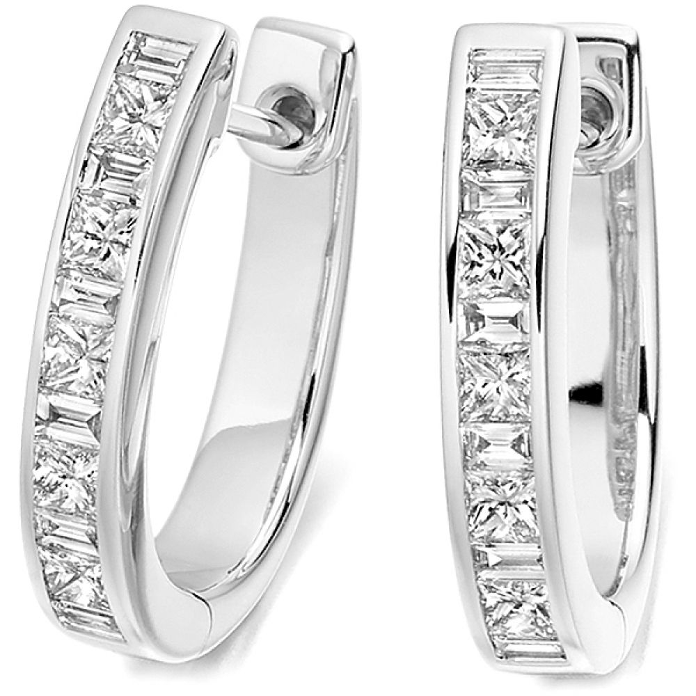0.75cts Princess and Baguette Diamonds Hoop Earrings