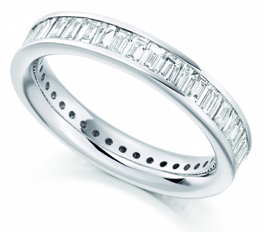 2 Carat Cross Set Baguette Diamond Full Eternity Ring