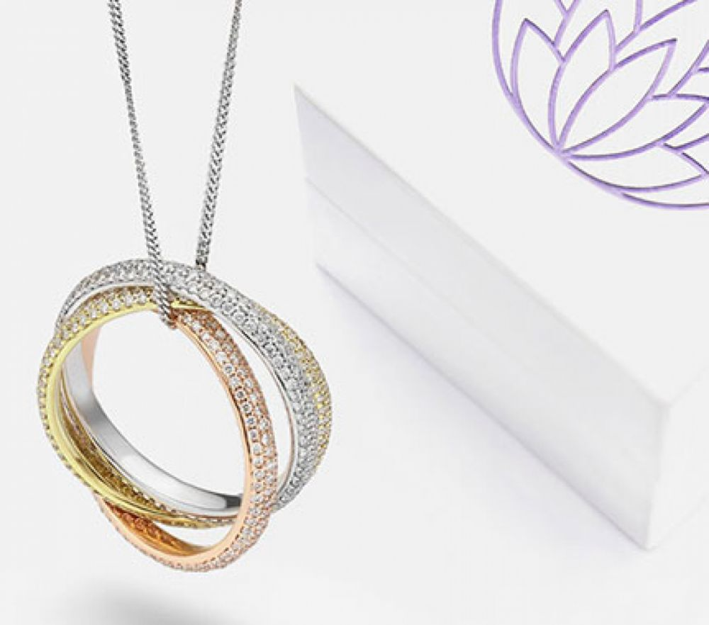 Suspended Diamond Russian Wedding Rings on Chain