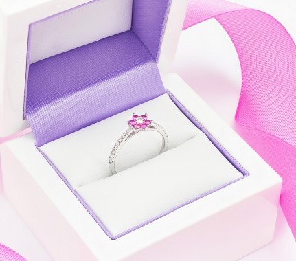 All of our pink sapphire engagement rings arrive in luxurious engagement ring packaging with additional slimline pocket box.