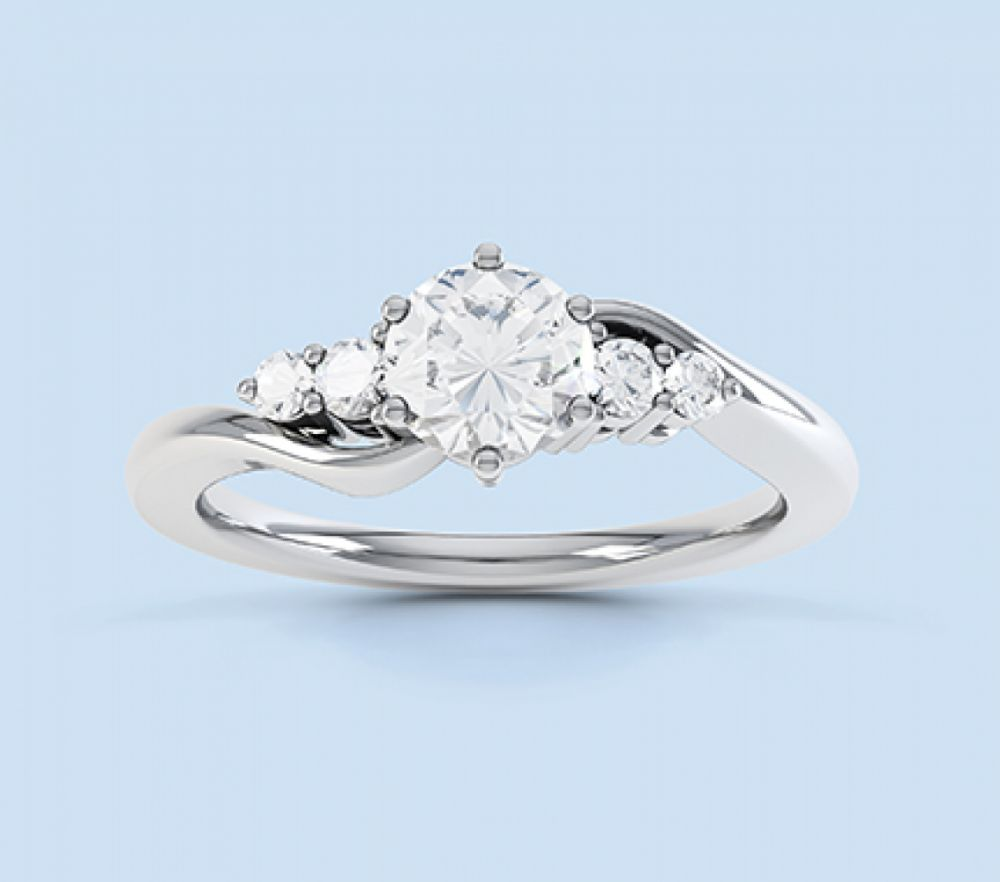 ring baguette engagement with rings image white emerald cut accents stone five