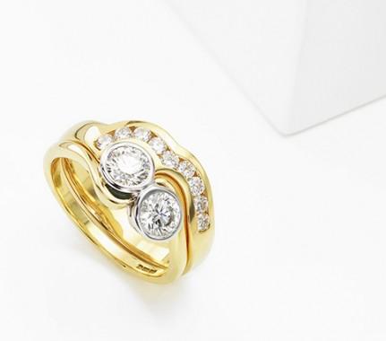 2 Stone Bezel Set Diamond Engagement Ring