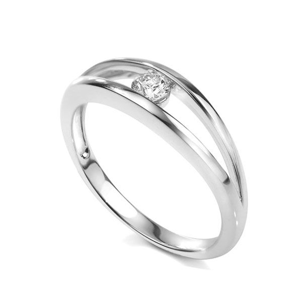 Modern double band tension style engagement ring Main Image