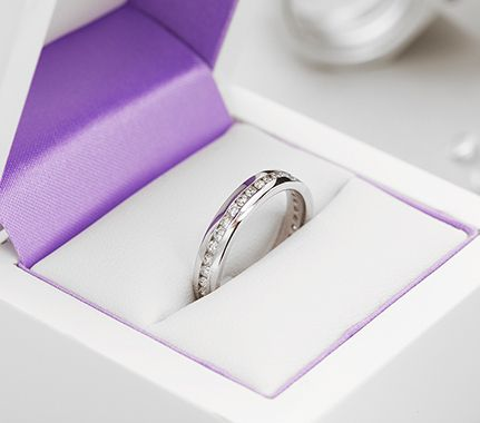 Channel set diamond eternity ring