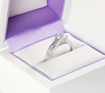 Diamond shoulder engagement rings - channel set Passerelle