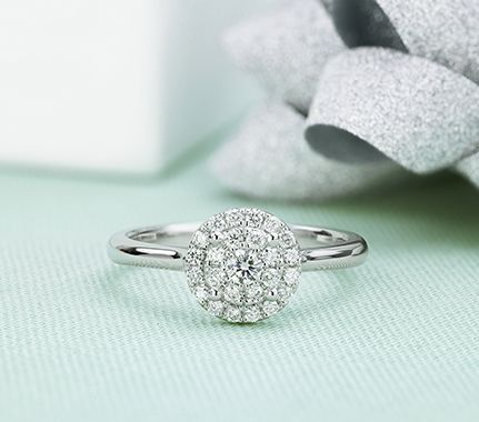 Diamond halo cluster ring