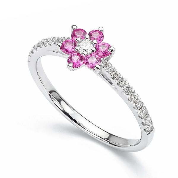 Pink Sapphire and Diamond Flower Engagement Ring Main Image