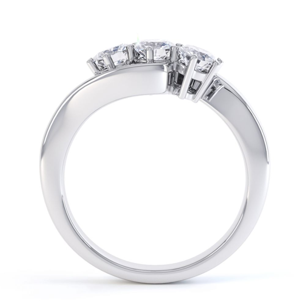 Three stone diamond engagement ring Trieste white gold side view