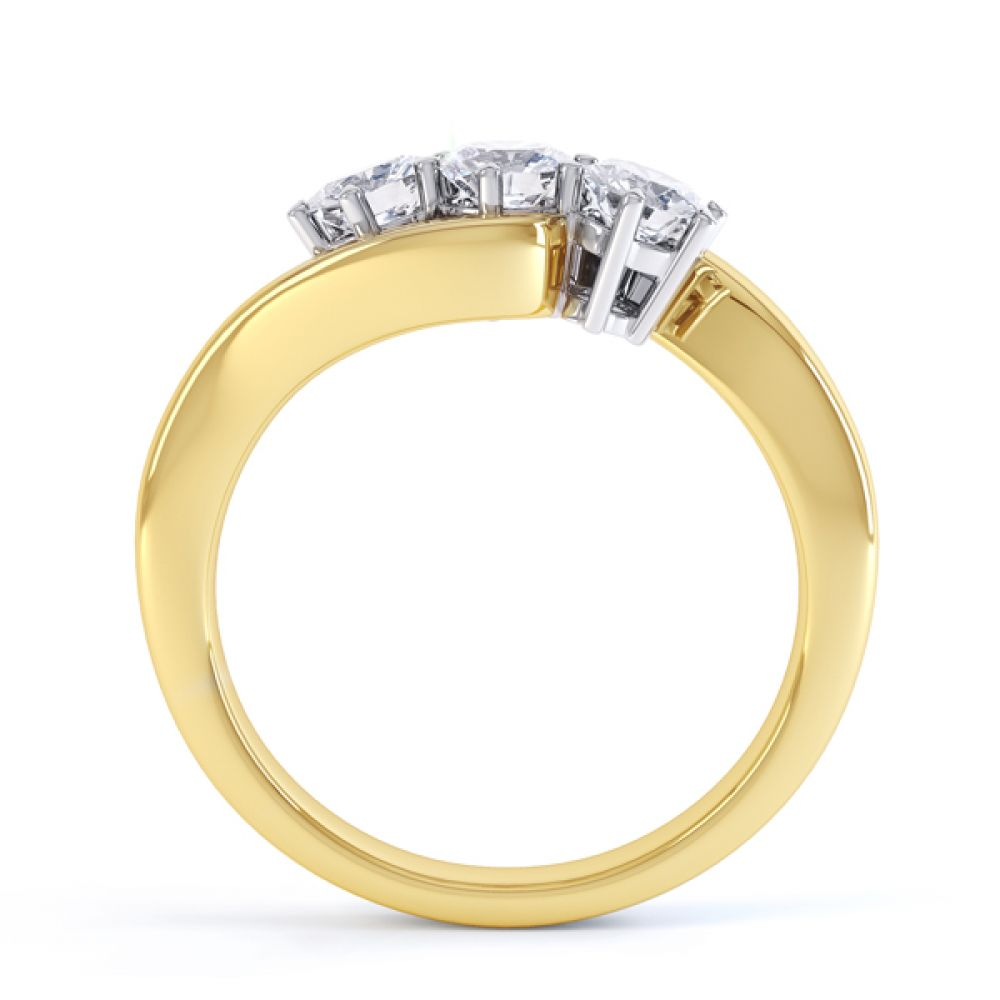 Three stone diamond engagement ring Trieste yellow gold side view