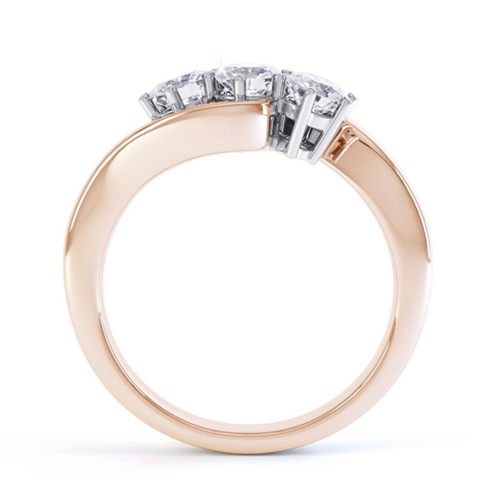 Three stone diamond engagement ring Trieste rose gold side view