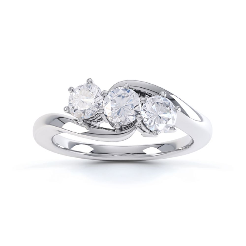 Three stone diamond engagement ring Trieste white gold top view