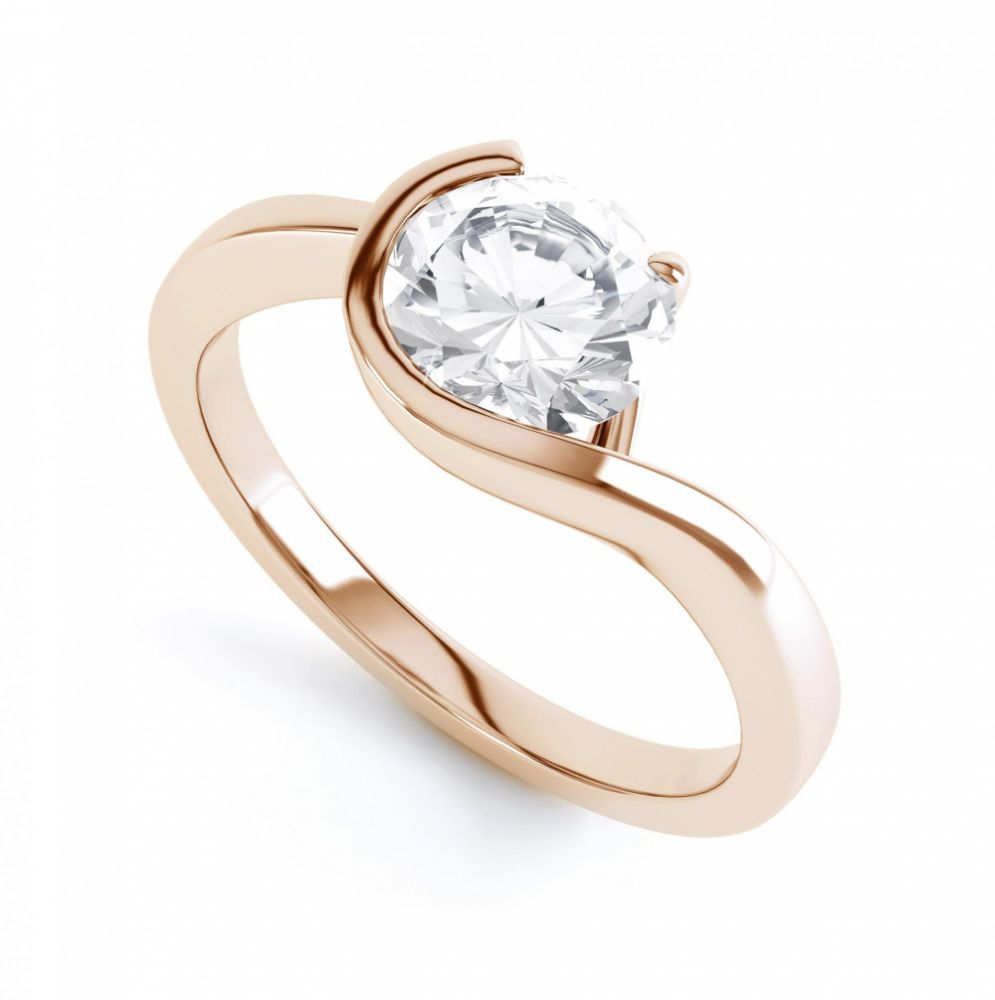 Asymmetrical Claw & Bezel Bezel Set Ring Rose Gold