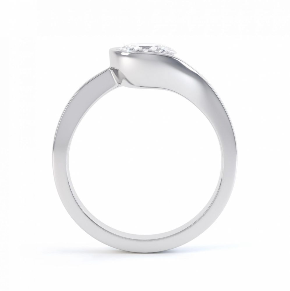Asymmetrical diamond engagement ring side view white gold