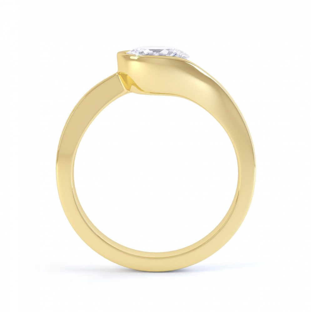 Asymmetrical diamond engagement ring side view yellow gold