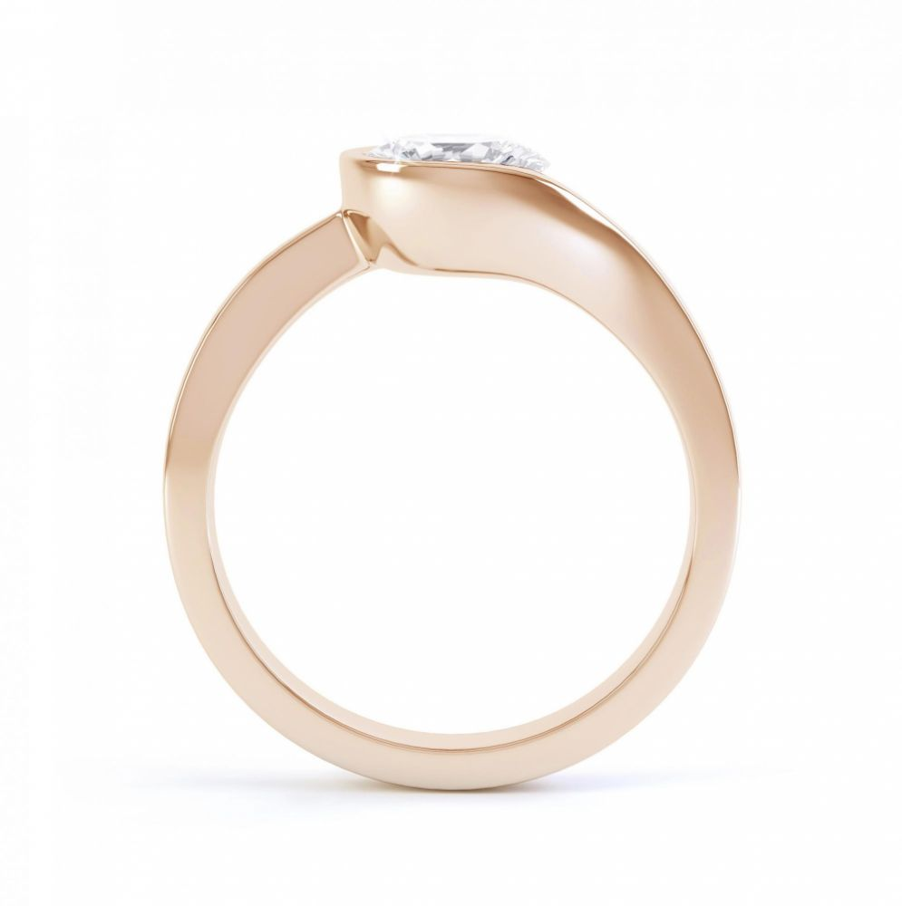 Asymmetrical diamond engagement ring side view rose gold