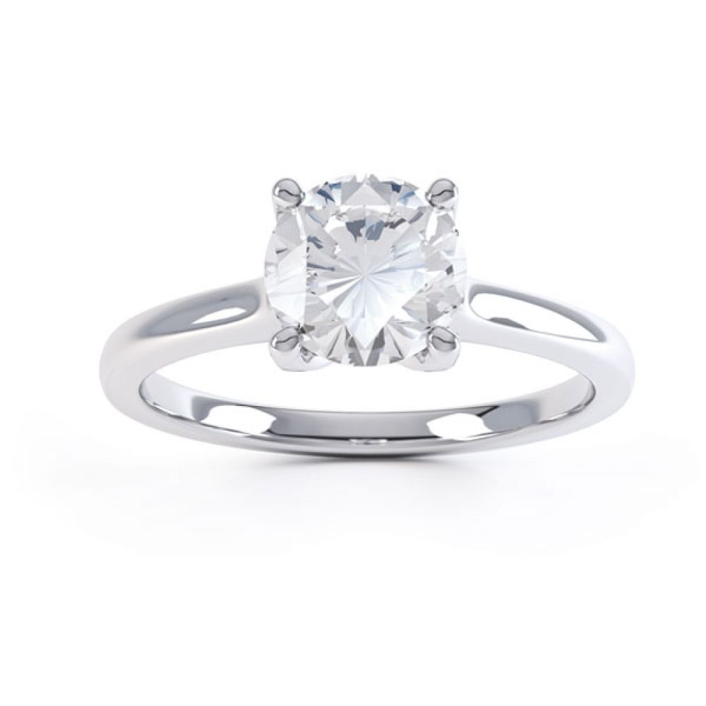 Simple four-claw solitaire in white Gold