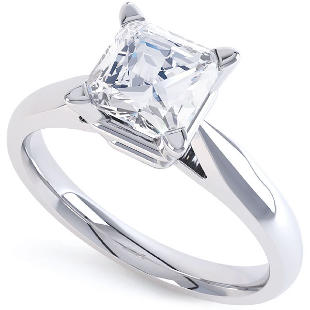 Ivy - 4 claw solitaire princess cut diamond engagement ring