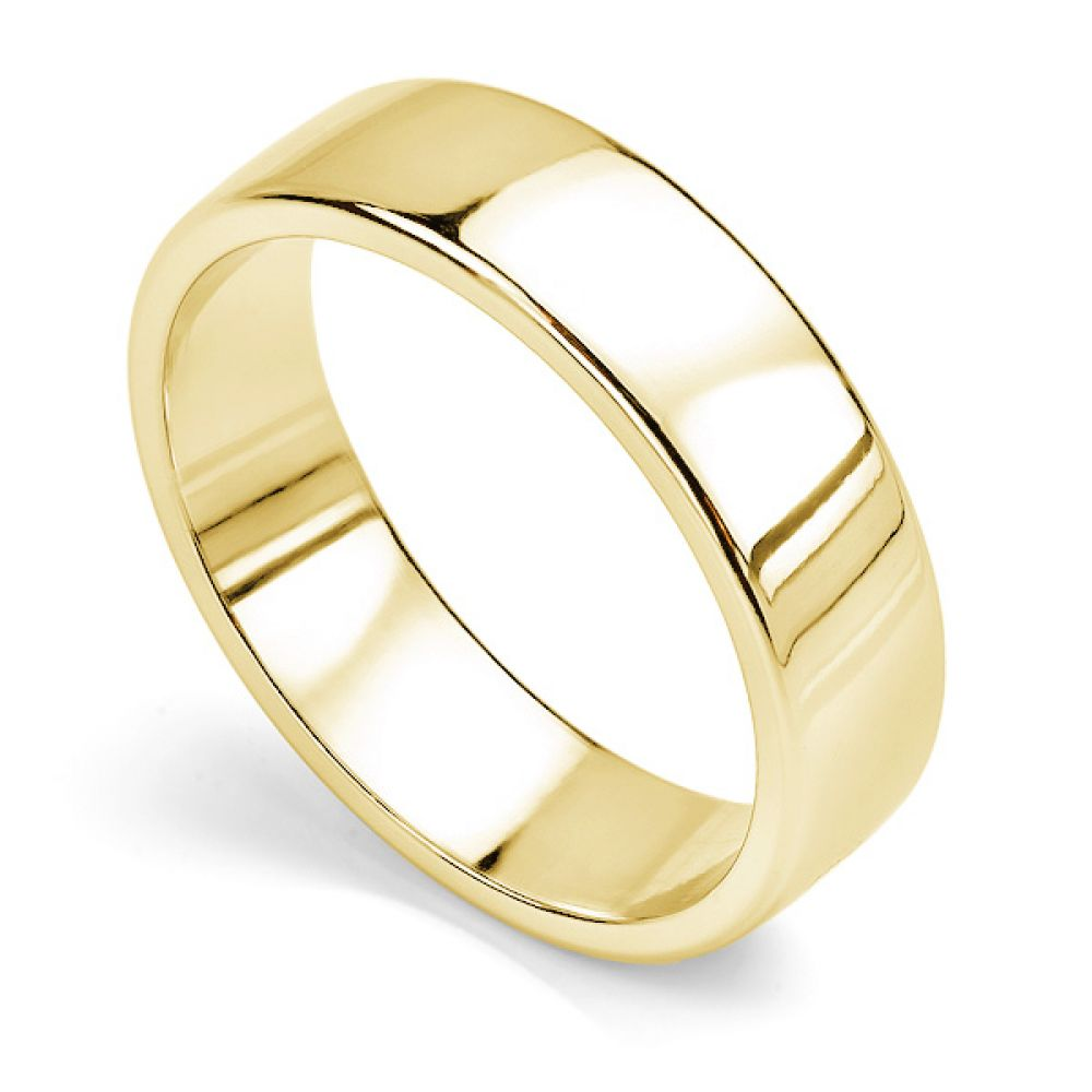 Court wedding ring with flat outer edge yellow gold 6mm