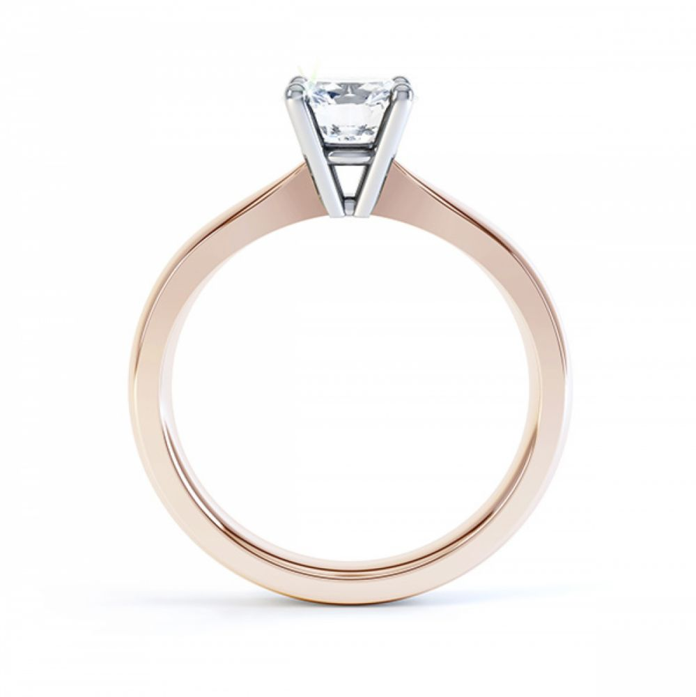 Rose gold four claw engagement ring R1D004 side view