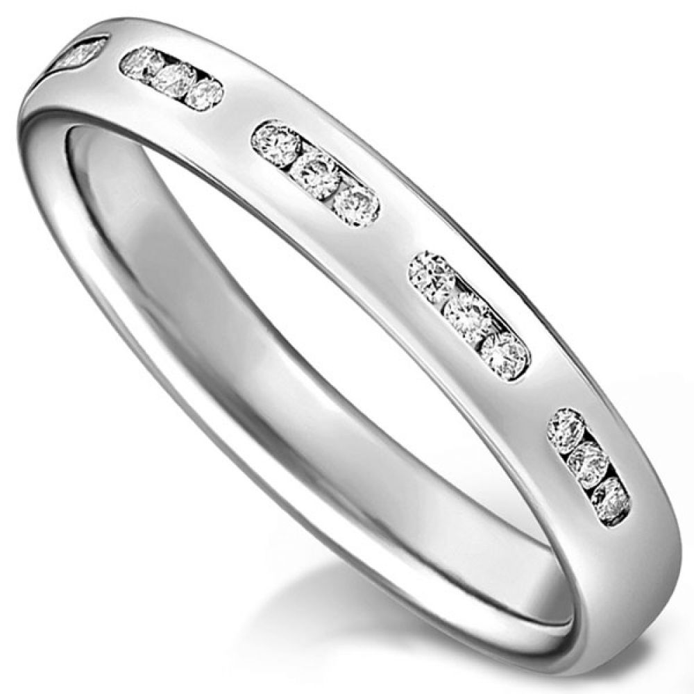 Channel sectioned diamond wedding ring