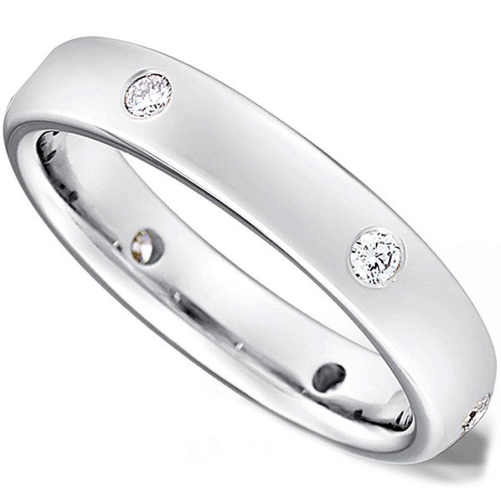 Flush Set Round Brilliant Cut Diamond Wedding Ring