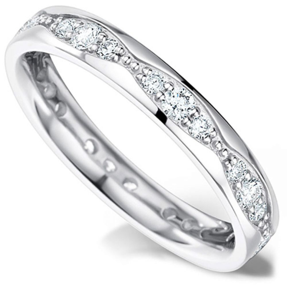 Wave designed channel set wedding ring