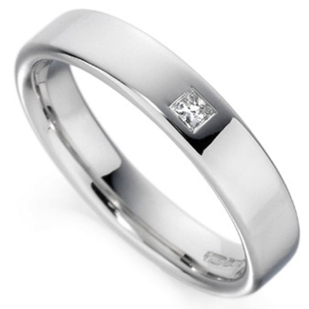 Flush Set Princess Cut Diamond Wedding Ring