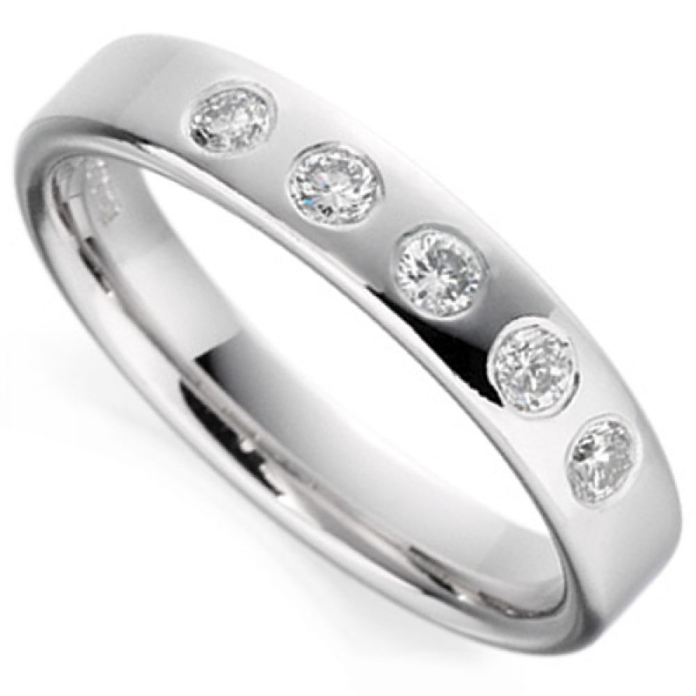 5 stone flush set diamond wedding band