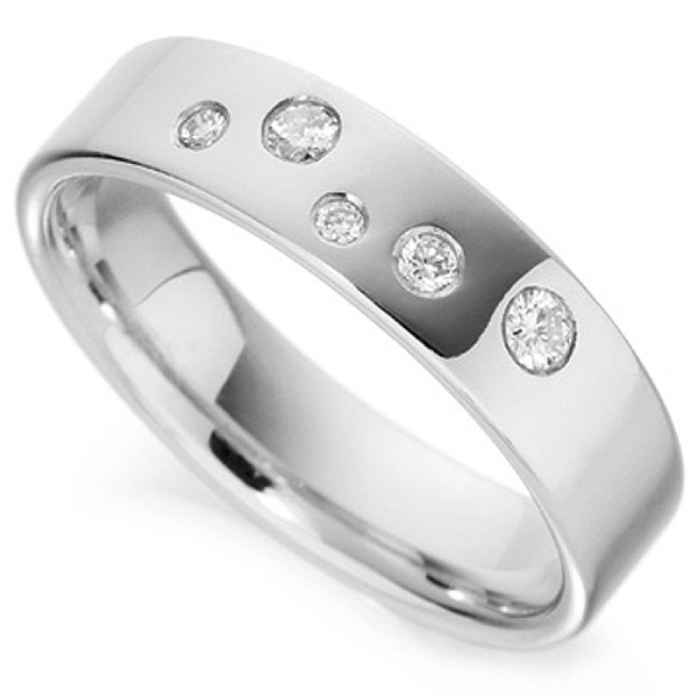 Random Flush Set Diamond Wedding Band
