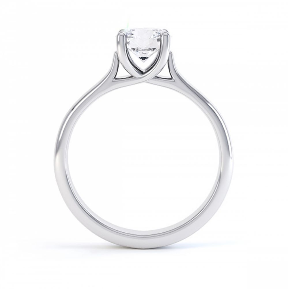 Sirius solitaire engagement ring R1D053 side view in white gold