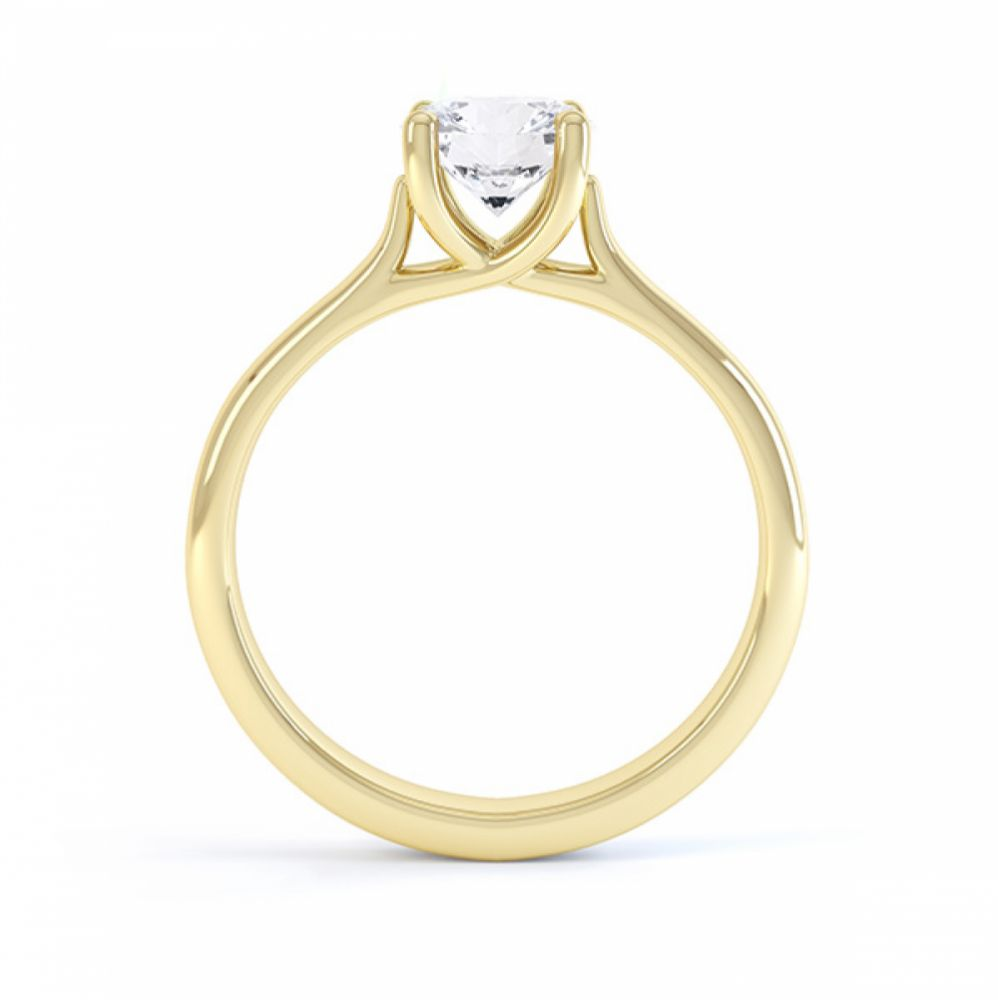Sirius solitaire engagement ring R1D053 side view in yellow gold