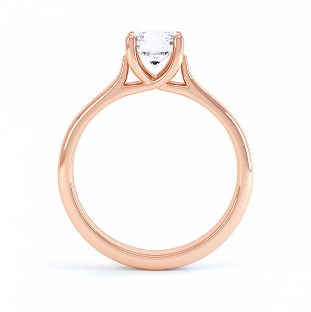Sirius solitaire engagement ring R1D053 side view in rose gold