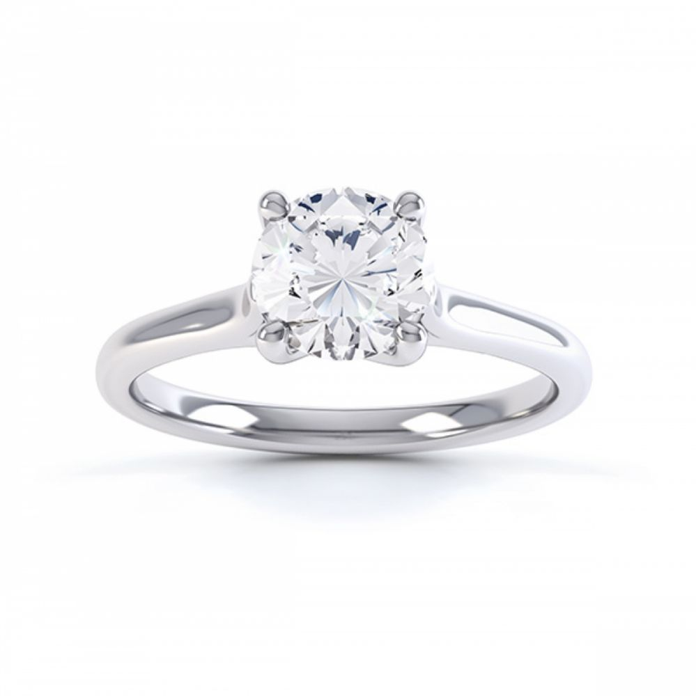 Four claw engagement ring sirius R1D053 top view white gold