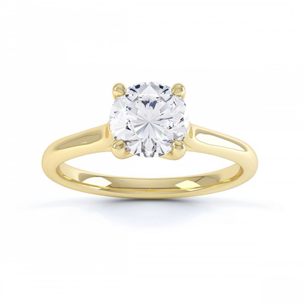 Four claw engagement ring sirius R1D053 top view yellow gold