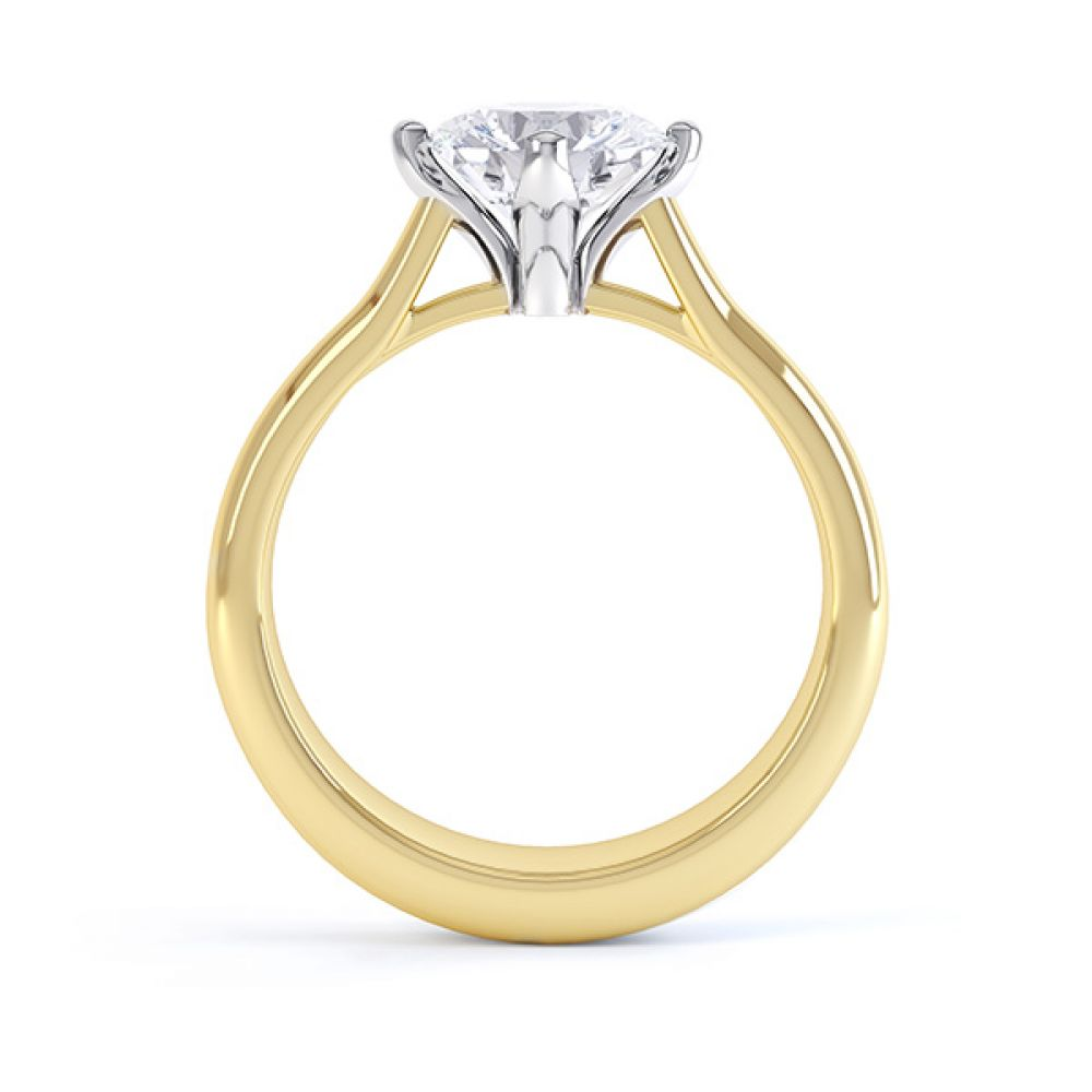 Naomi diamond engagement ring with compass setting side view in yellow gold