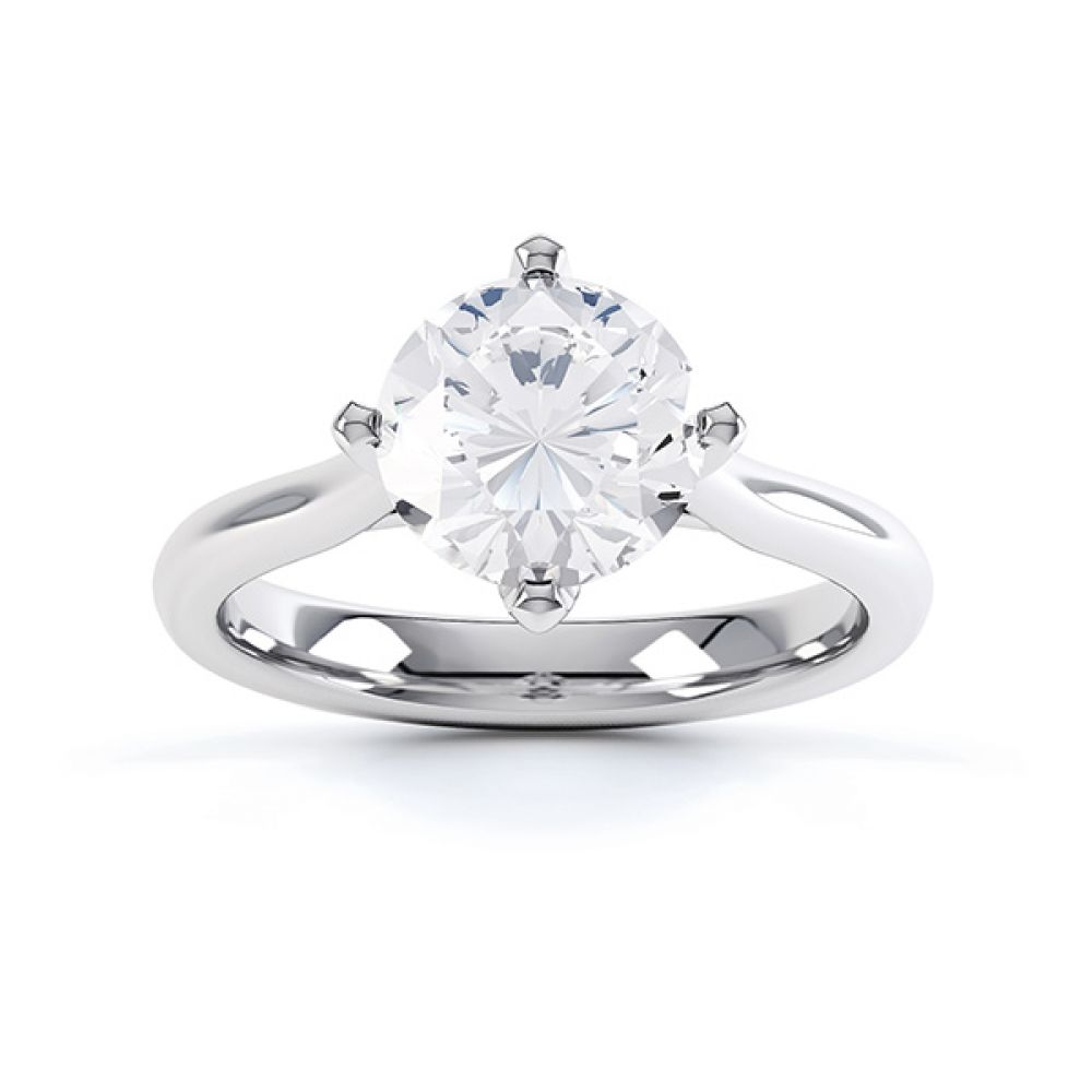 Naomi low compass set diamond engagement ring top view, shown in white gold or platinum
