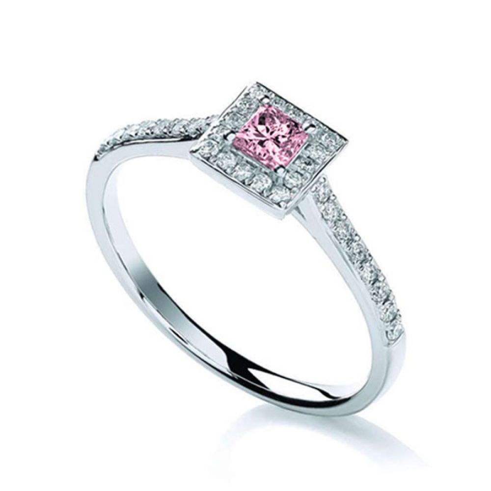 Petite Pink Sapphire and Diamond Halo Engagement Ring