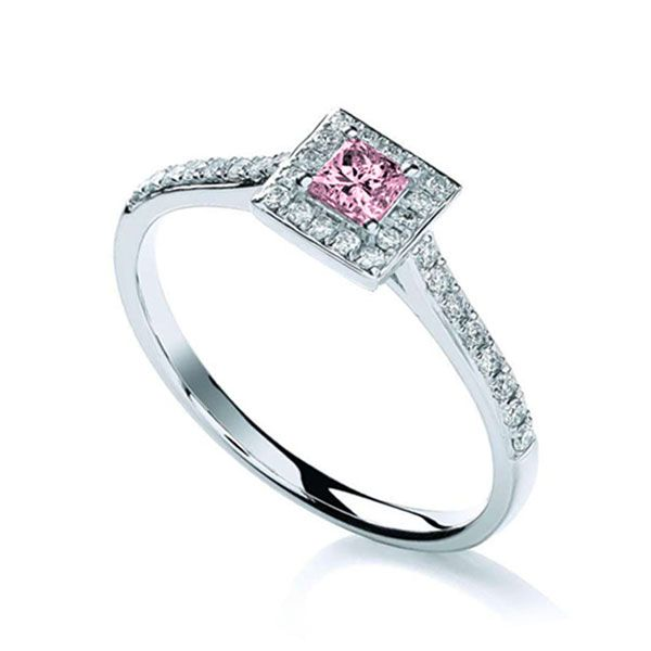 Pink Sapphire and Diamond Halo Petite Engagement Ring Main Image