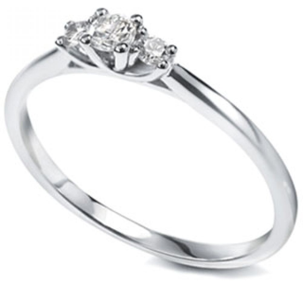 Petite three stone diamond engagement ring