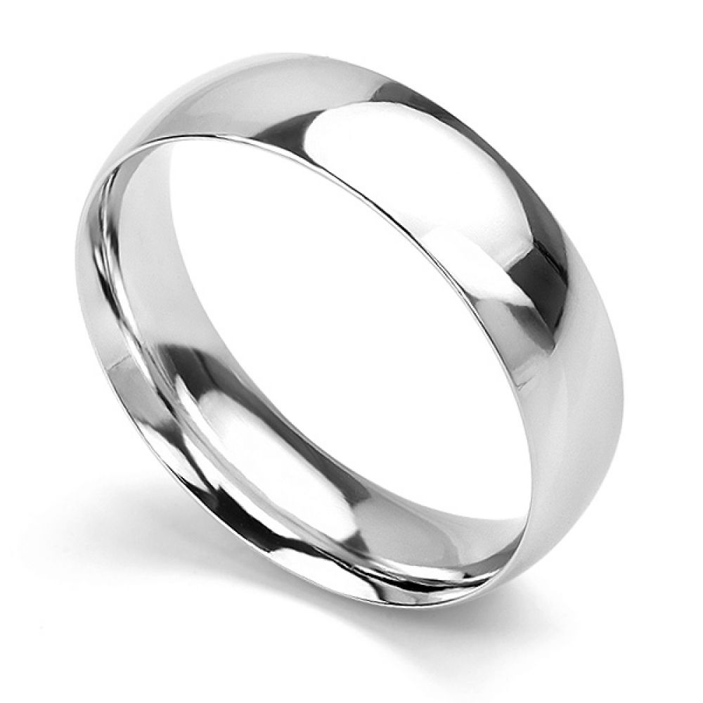 Traditional Court Wedding Ring Medium Weight White Gold