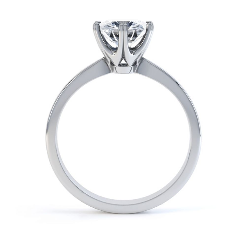 Tiffany style 6 claw engagement ring R1D077 side view white gold
