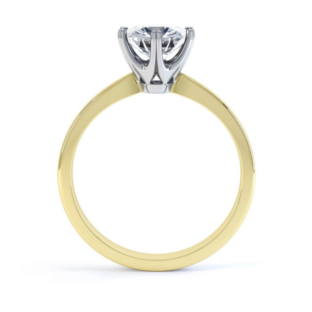 Tiffany style 6 claw engagement ring R1D077 side view yellow gold
