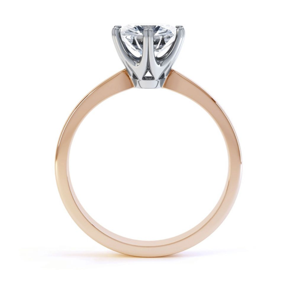 Tiffany style 6 claw engagement ring R1D077 side view rose gold