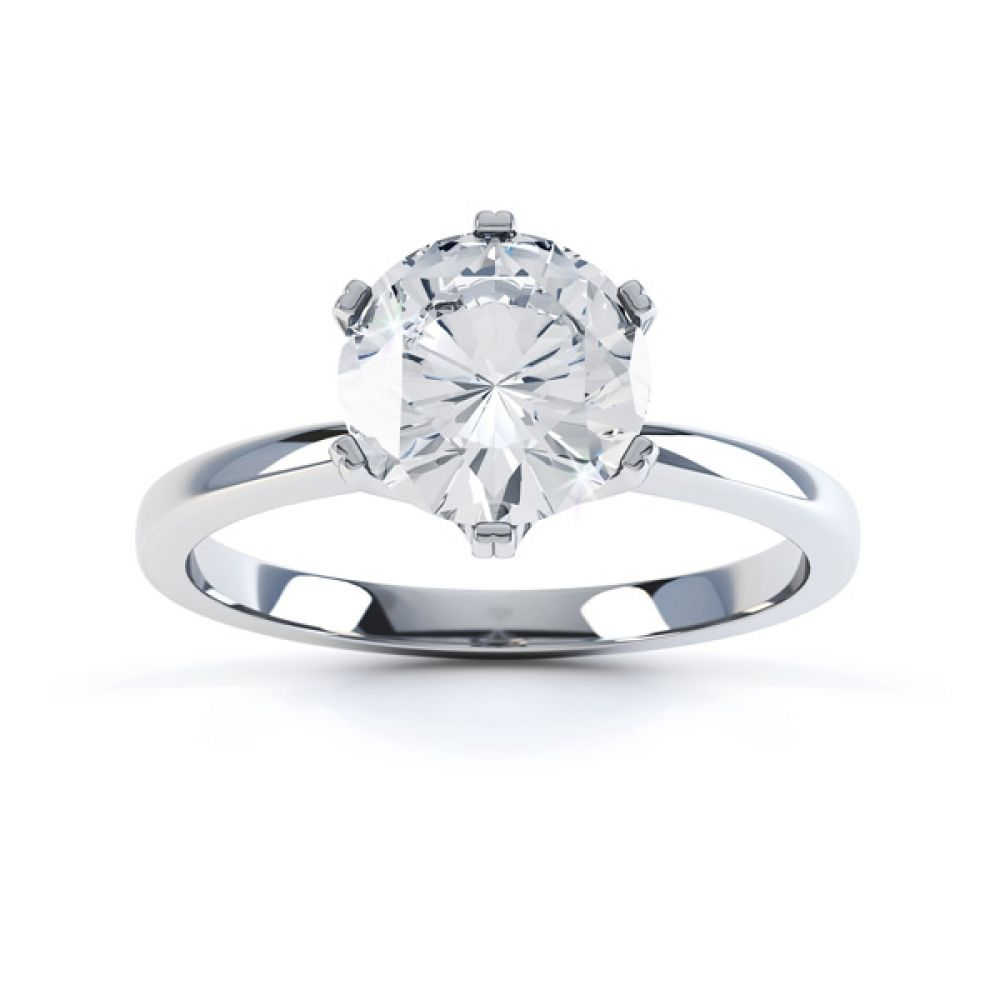 Tiffany style engagement ring R1D077 top view white gold