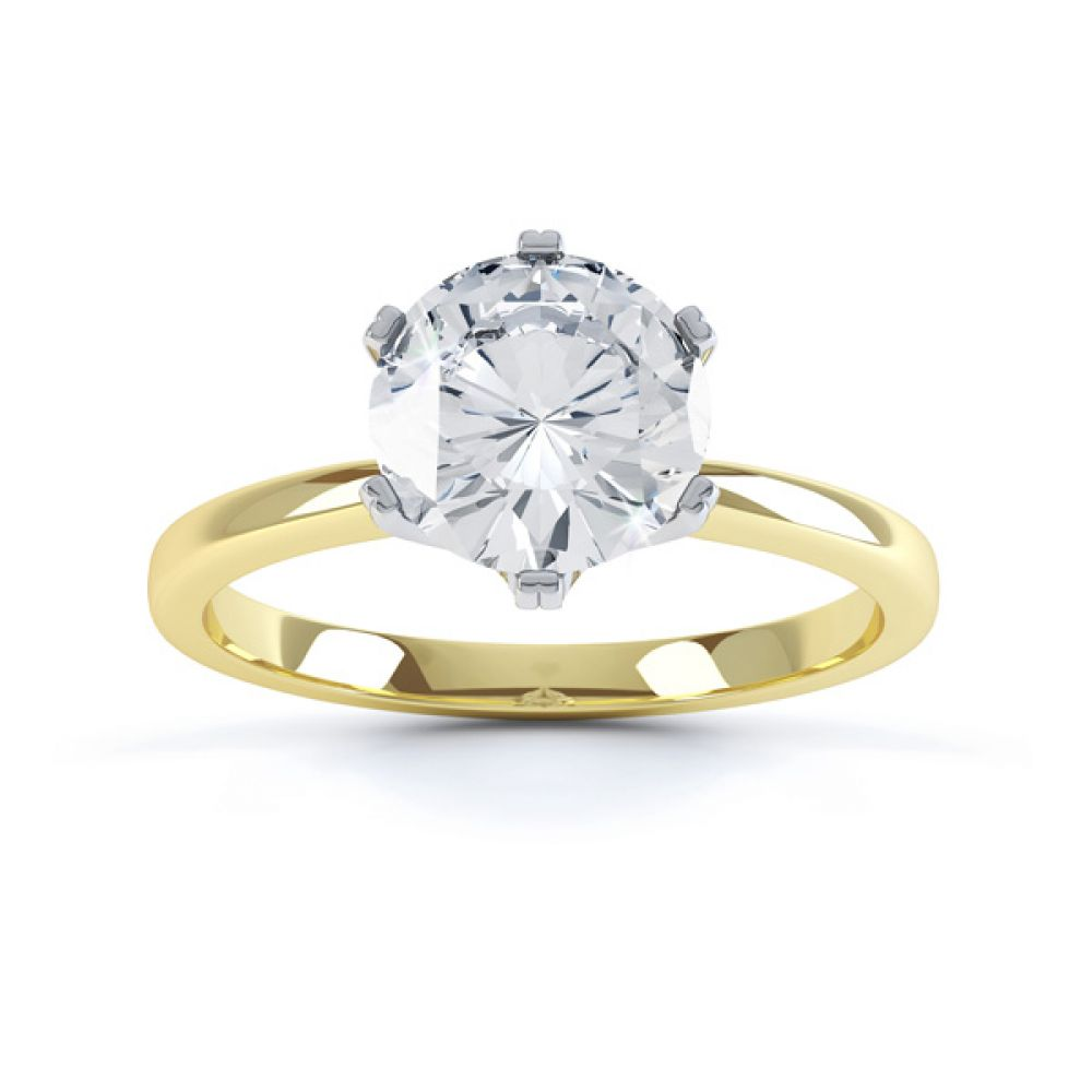 Tiffany style engagement ring R1D077 top view yellow gold