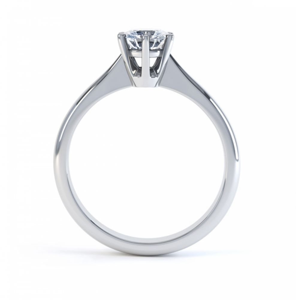 Millie traditional six claw engagement ring side view white gold