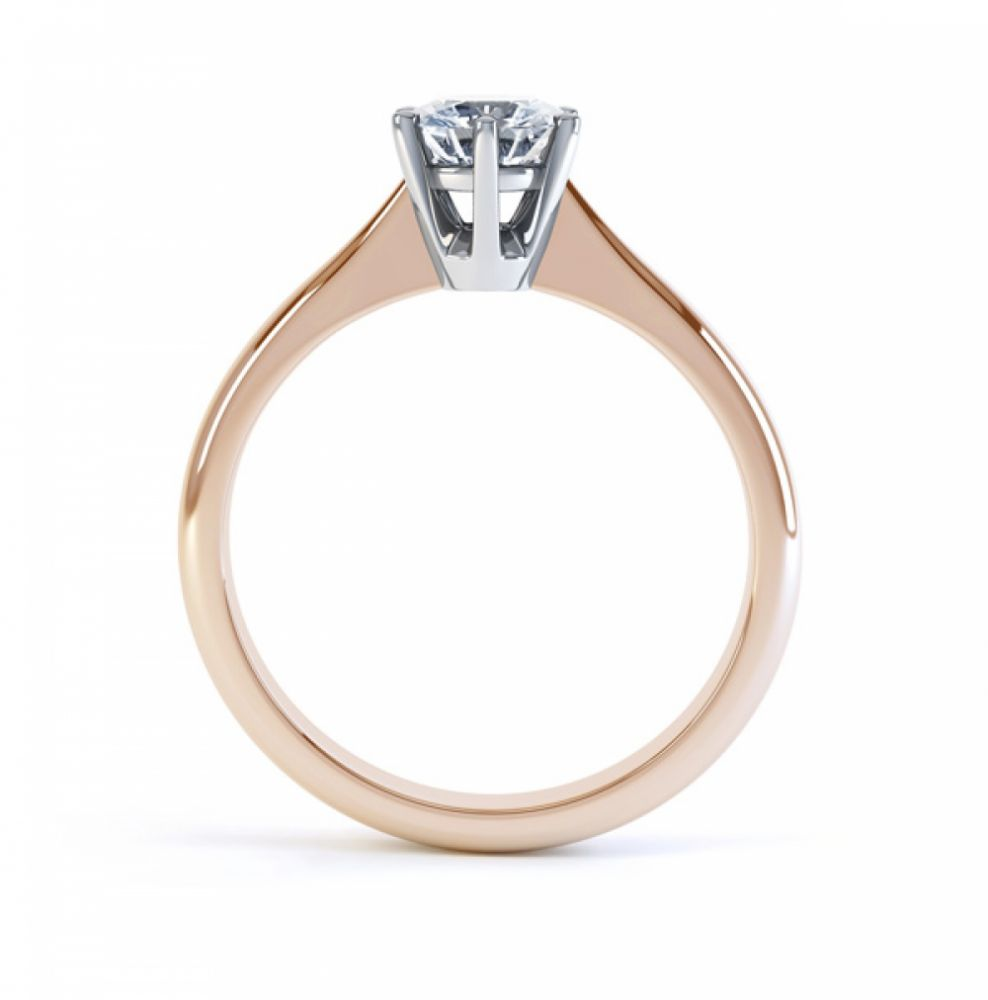 Millie traditional six claw engagement ring side view rose gold