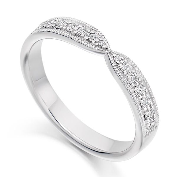 Vintage Bowtie Shaped Diamond Wedding or Eternity Ring Main Image