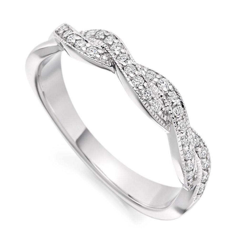 Vintage diamond ribbon ring shown in Platinum, white gold or Palladium