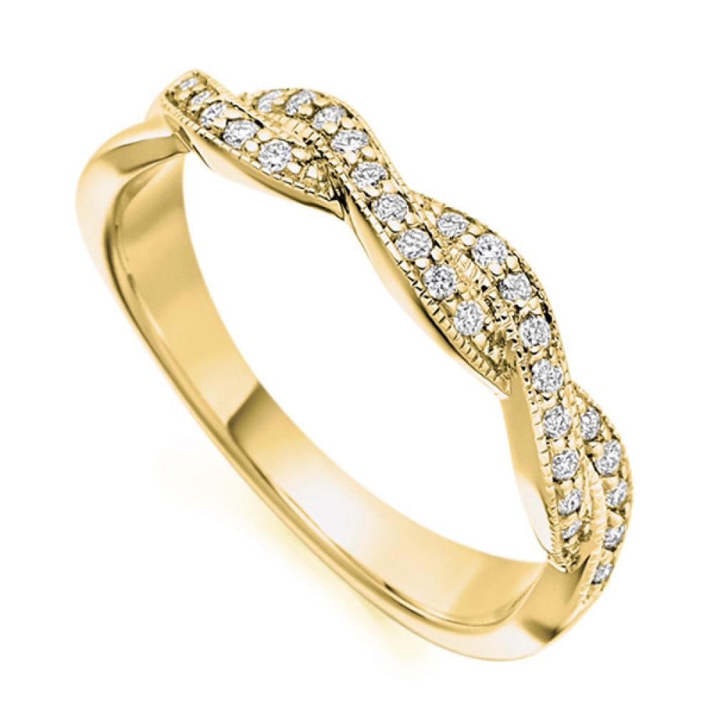 Vintage diamond ribbon ring in yellow gold
